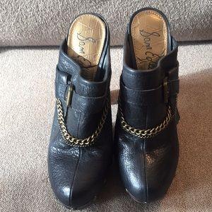High heel studded clogs